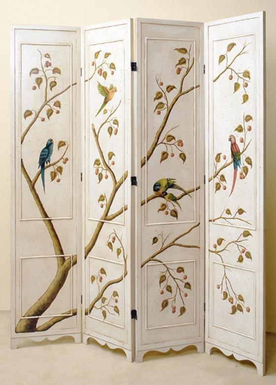 four panel folding screen in antique white finish w hand painted birds u0026 tree traditional screens and wall dividers the room divider store