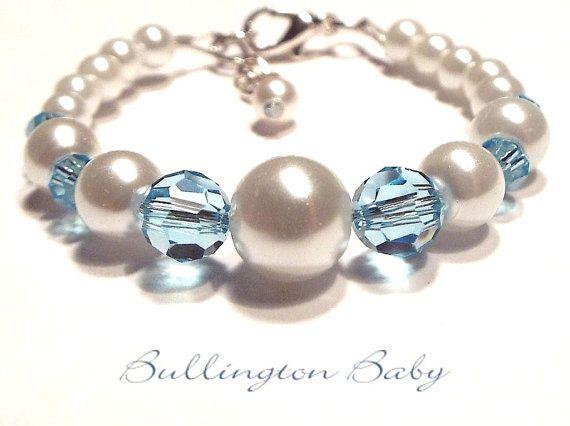 Baby Pearl Bracelet Baby Birthstone Bracelet by BullingtonBaby, $13.50