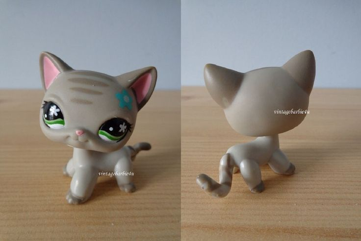 Littlest Pet Shop LPS Short Hair Grey Cat # 483 Green eyes Striped Teal Flower  | eBay
