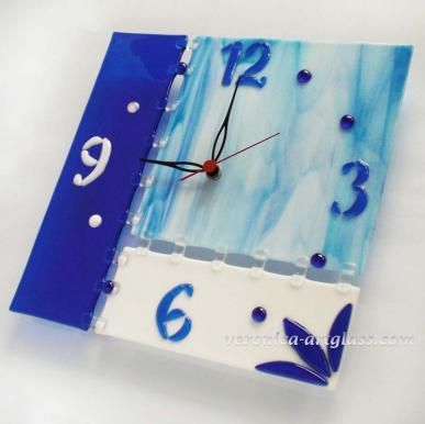 Fused glass wall clock ICE AGE   Fused glass - fusing