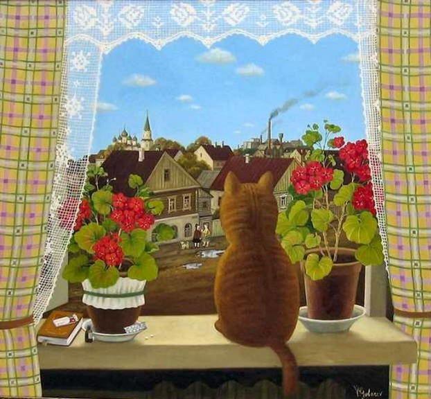 Painting of cat in the window. Valentin Gubarev