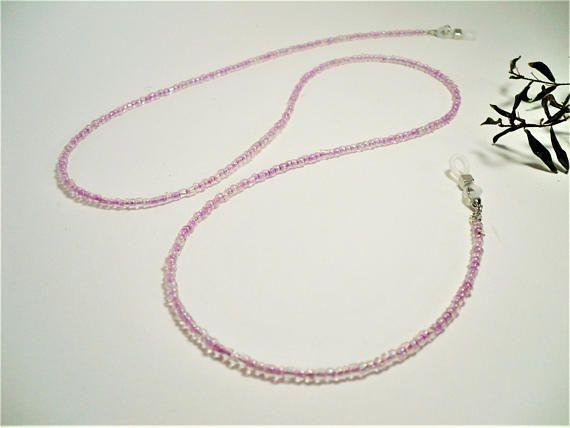 Pink Beaded Eyeglass Chain 28-30 Thin Glasses Cord