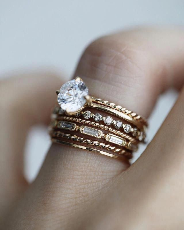 Solid Gold Ring Stacking Set Of Rings Wedding Ring Set 14k Gold Wedding Band Set 1 2mm Round Wedding Band With 1 2mm Twisted Rope Ring Fine Jewelry Ideas Trending Engagement