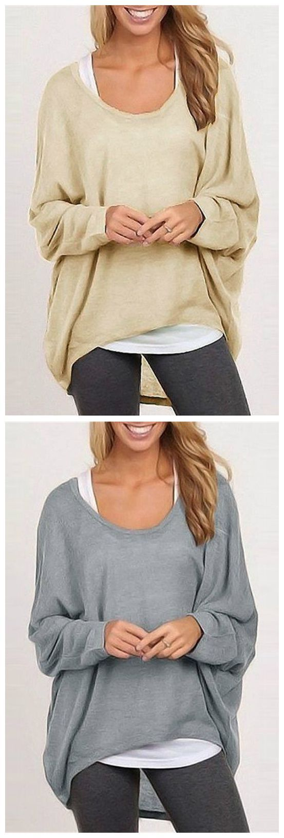 Go with the flow with this casual long sleeve loose t-shirt. Available in 9 colors.