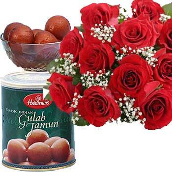 Send this  hamper to your dear ones in India. Red Roses and Gulab jam. We offer a variety of bouquets, flower baskets and gift hampers for every occasion. Our Sweet Hamper is especially designed for festivals; it comprises of a bouquet of red roses and a tin pack of Gulab jamun. Send roses bouquet online through Shop2Hyderabad.com. Our fragrant blooming roses together with fresh gulab jamun will double the joy of any occasion.