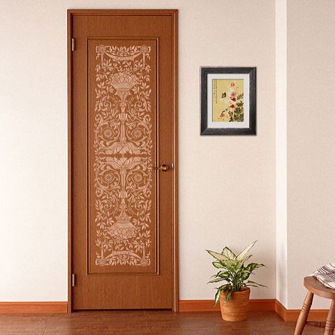 Our Grand Panel Classic Stencil decorates doors and vertical wall columns with a traditional design. It is shown as framed art with our Decorative Cording Furni