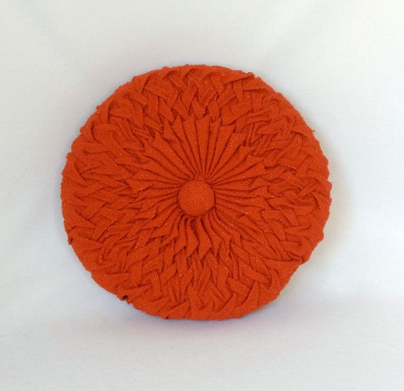 Mid Century Modern Round Pillow : Vintage Tufted Pillow, Mid Century Decor, Vintage Decor, Round Orange Throw Pillow, Decorative ...