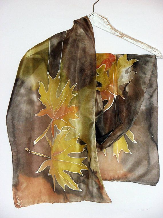 Hey, I found this really awesome Etsy listing at https://www.etsy.com/listing/465718004/silk-scarf-with-painted-golden-tree