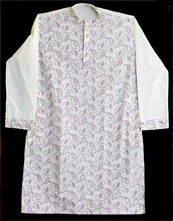 White Kurta with Mauve Embroidery (Cotton))