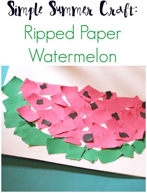 Simple Paper Chick Craft: Simple Summer Craft: Ripped Paper Watermelon