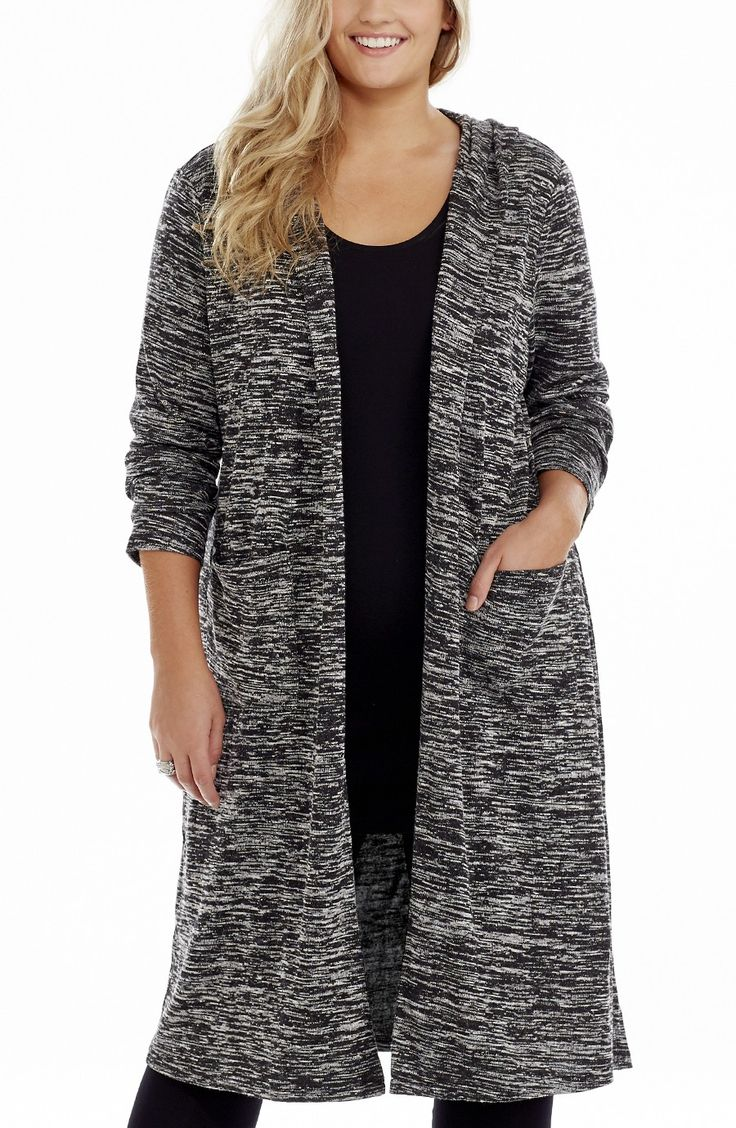 Hooded Knit Jacket | Spacedye Style No: JK11127 Spacedye Acrylic Knit Long line Jacket. This Easy wear long Cardi /Jacket has long sleeves and two front pockets. It has an edge to edge front opening and a also has a hood. #dreamdiva #dreamdivafiles #fashion #plussize