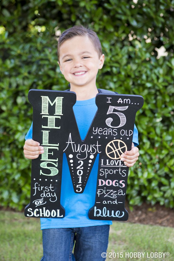 Forever remember your little one's first day of school or birthdays and could be changed yearly! 1. Buy letter at craft store 2. Paint your letter with black chalk paint. 3. Take a regular pencil or chalk pencil to draw out your words and designs of choice.