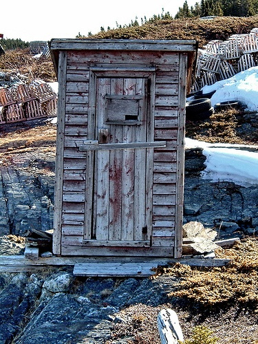 Old outhouse at Burnside, Newfoundland. It was torn down and burnt since this photo was taken. Awww...what a shame.
