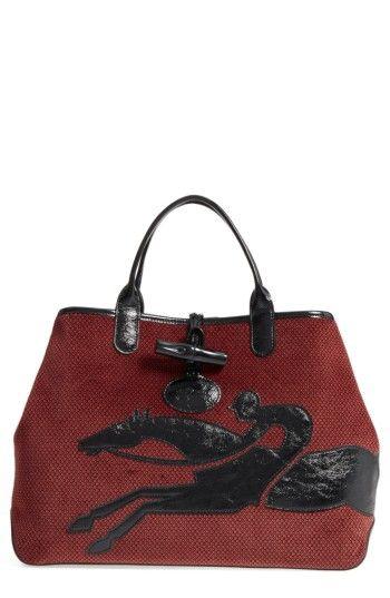LONGCHAMP ROSEAU DOUBLE GAME REVERSIBLE TOTE - BLACK. #longchamp #bags #canvas #velvet #tote #metallic #hand bags #cotton #