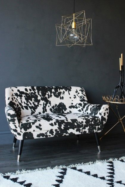 Faux Cowhide Vintage Style 2 Seater Sofa