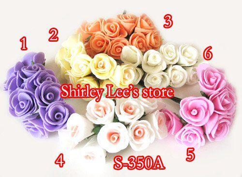 144 BUNCHES = 1440 шт. Mini пена роза кучу ж / проводная стебель в 6 различных цветов, Голосовали коробка декор