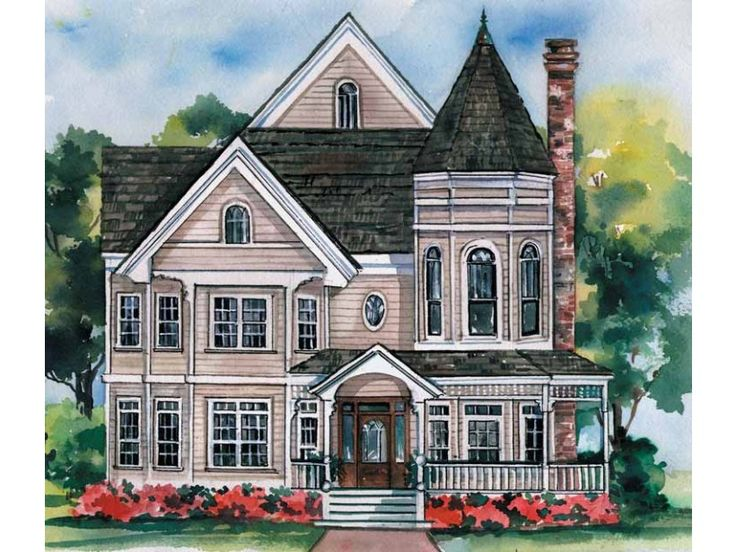 Queen anne style 2 story 5 bedrooms s house plan with for One story queen anne