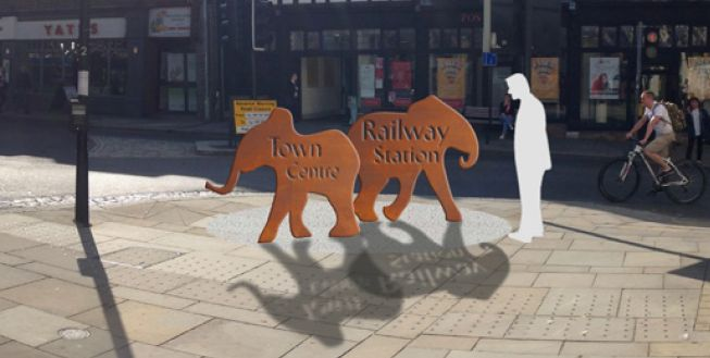Using the walking routes strong historic association with elephants, we are marking the start and end of the route with elephant sculptures. They will be made of cor-ten steel and will be lit at night. These two elephants will mark the end of the route in Colchester High Street.