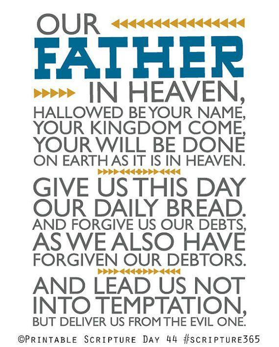 Notre Père qui êtes aux cieux, que Ton nom soit sanctifié, que Ton règne vienne. Que Ta volonté soit faite sur la Terre comme au ciel. Donne nous aujourd'hui notre pain de ce jour et pardonne nous, comme nous pardonnons aussi à ceux qui nous ont offensés. Et ne nous soumet pas à la tentation, mais délivre-nous du mal.  Amen!