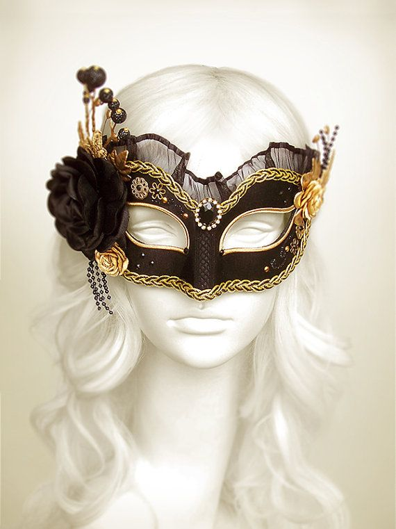 Black & Gold Masquerade Mask With Various Accents - Venetian Style Masquerade Ball Mask With Satin Roses, Rhinestones, Branches And Glitter