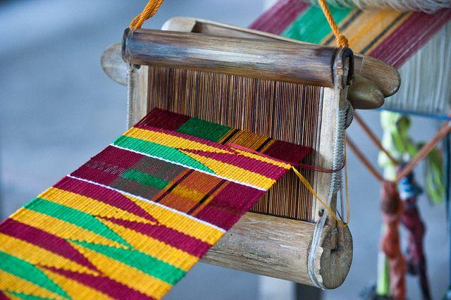 Kente machine    A close up of kente weaving machine. Kpetoe, Ghana