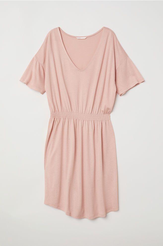 c1aa104d010a38 Tricot jurk met smokwerk - Poederroze - DAMES