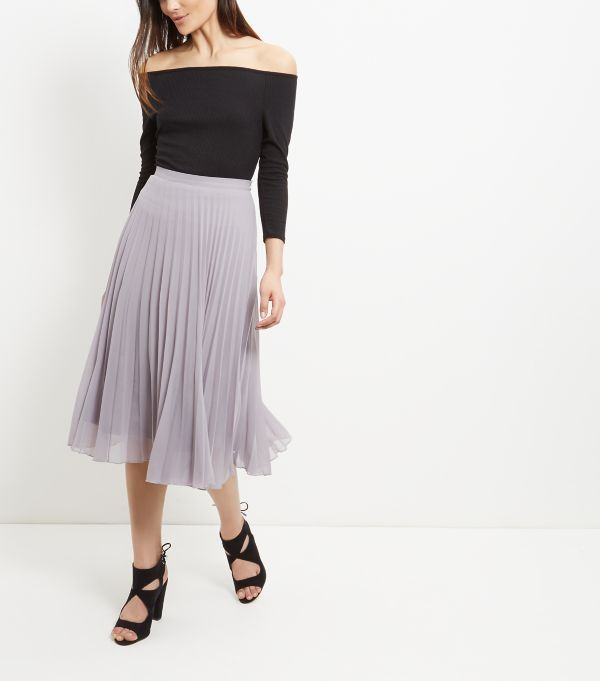 Grey Pleated Midi Skirt | Jill Dress