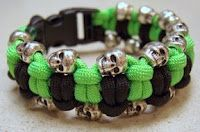 The double tatted bar done as a paracord bracelet, with skull beads.