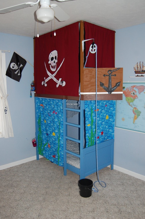 And here is our own kids' pirate room piece (using IKEA toddler beds,