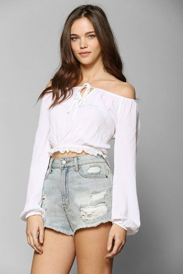 White Off the Shoulder Cropped Gauze Blouse