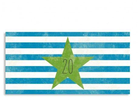 """Einladungskarte Vintage Star zum 20. Geburtstag (DIN Lang) Angesagt: die Einladung zum 20. Geburtstag """"Vintage Star"""". Diese Einladungskarte begeistert durch ihren angesagten Used-Look! Auf der Vorderseite dieser Einladungskarte geben Sie den Anlass Ihrer Einladung an, z. B. Ihren 20. Geburtstag. Die Rückseite der Postkarte bietet Ihnen Platz für Ihren Einladungstext und zwei Fotos - z. B. von sich selbst, von der Location Ihrer Feier, Ihrem Hobby oder auch einem Kinderfoto aus Ihrer…"""