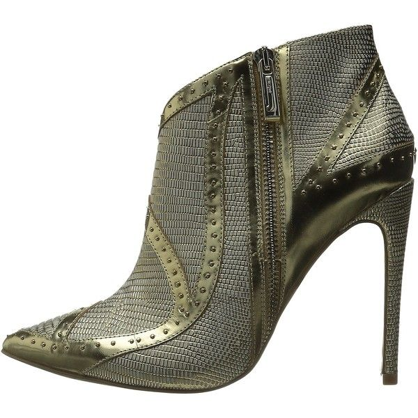 Just Cavalli Studded Bootie (Gold) Women's Boots (21.150 RUB) ❤ liked on Polyvore featuring shoes, boots, ankle booties, gold ankle boots, ankle boots, gold booties, studded ankle boots and pointy-toe ankle boots