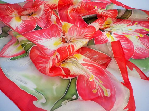 Bandana in seta rossa dipinti a mano sciarpa di di LigitasWorkshop