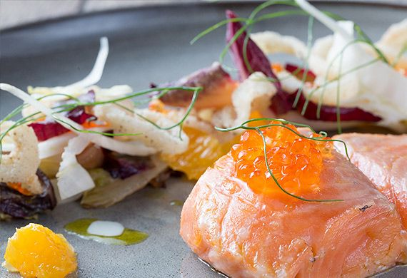 Pure South's 42° confit Huon salmon with butter sauce