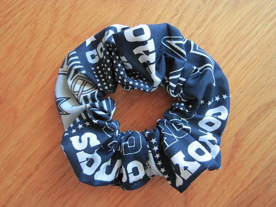 Sports Scrunchies Handmade from Dallas Cowboys COTTON block print NFL pro Football Team Navy Blue Silver White Ponytail hair holder fan gift ~ Available on www.MaliakeiBags.com