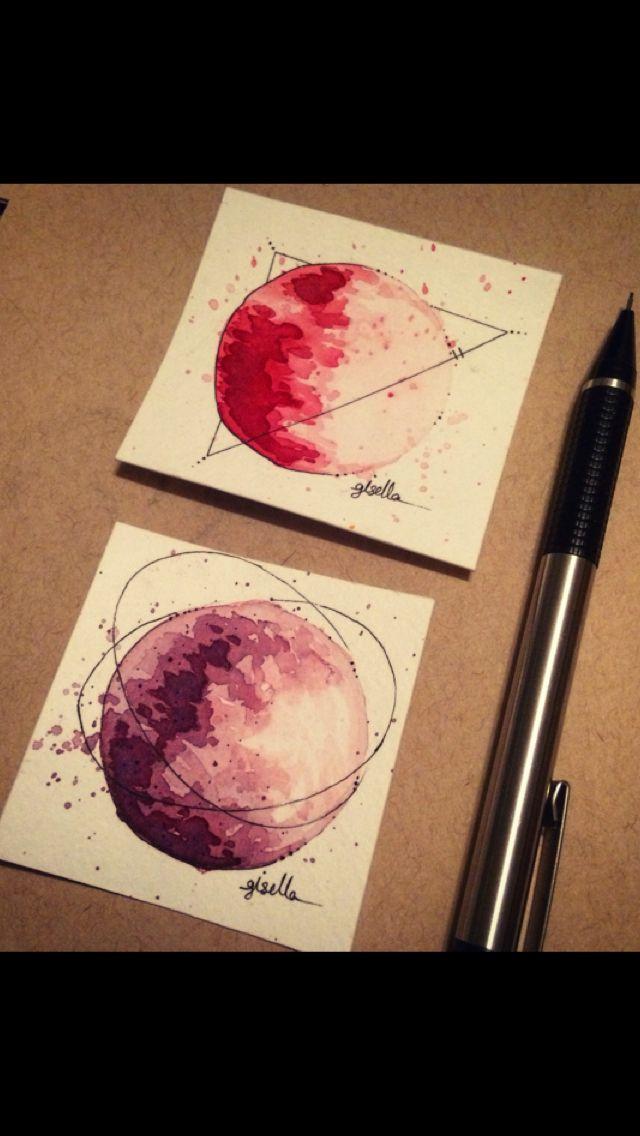 Splattery Planets #inks #watercolor