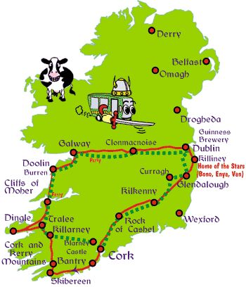 described as 3 day budget backpacking tour of southern Ireland, good starting point of places to hit while there.