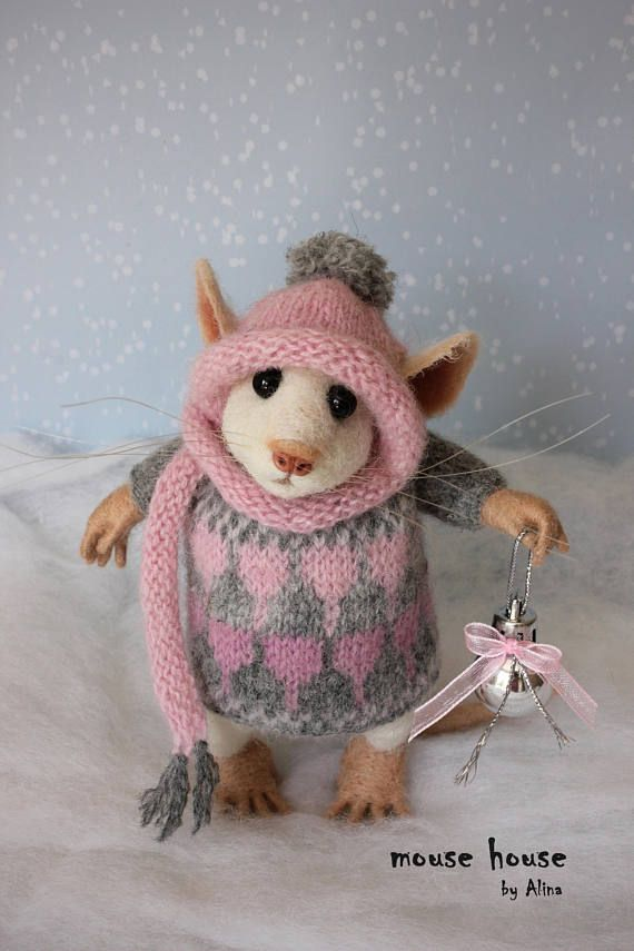 Photo of Christmas bauble ornament wool figure xmas gift winter house decoration soft mouse felted animal artist doll woolly toy MouseHousebyAlina