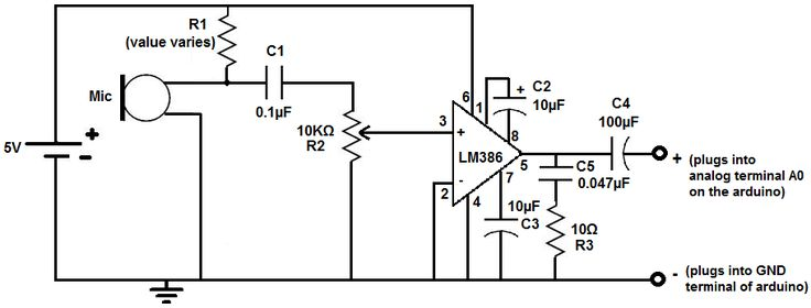 LM386 microphone amplifier circuit in 2019 Circuit