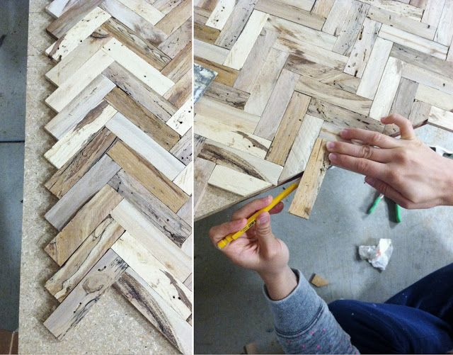 Why couldn't I use this same principal for the top of the dresser where the top is a mess - using pallet boards or lathing strips?  sarah m. dorsey designs: Herringbone Driftwood Table