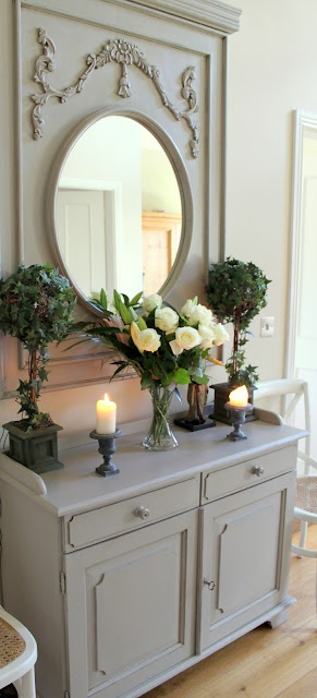 French Linen Mirror- painted the same color as the furniture below it looks almost like a sleek hutch