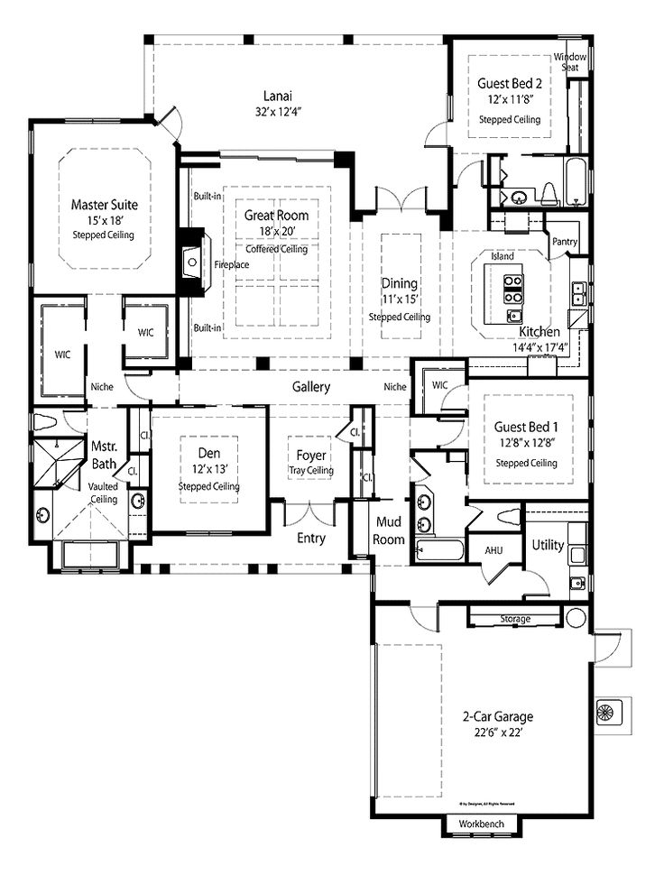 French country house plans open floor plan for Open floor plan house plans