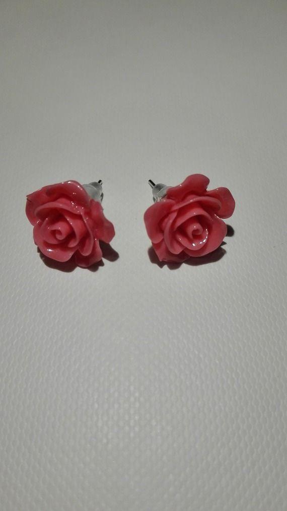 Boucles d'oreilles clou en forme de rose rose 10mm