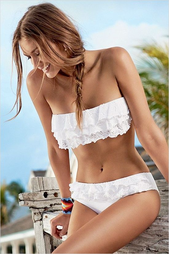 Honeymoon Bikini Idea - White Ruffled Bikini by PilyQ Romantic and a cute reminder to your new husband that your his bride.