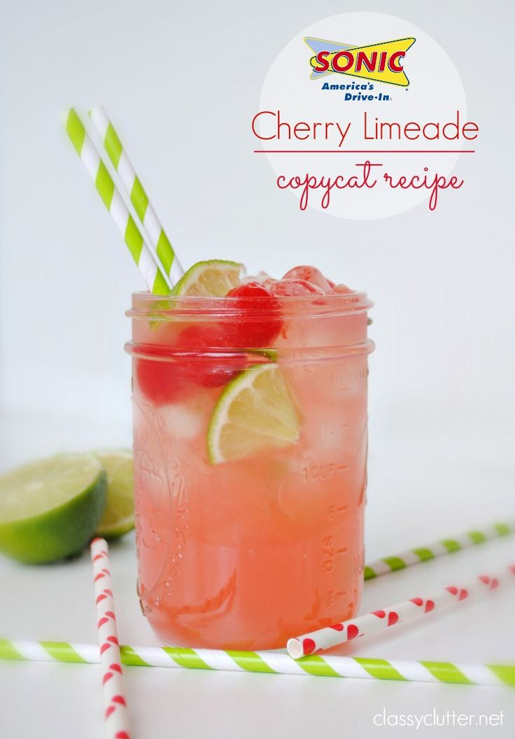 SONIC Cherry Limeade: 2 liter of Sprite, 12 oz frozen limeade from concentrate (Minute Maid), 1 small jar of maraschino cherries - In a large pitcher, combine Sprite, frozen limeade, & the entire jar of maraschino cherries (including the syrup). Mix slowly so your Sprite doesn't go flat. Pour over ice and add a wedge of lime. Enjoy!