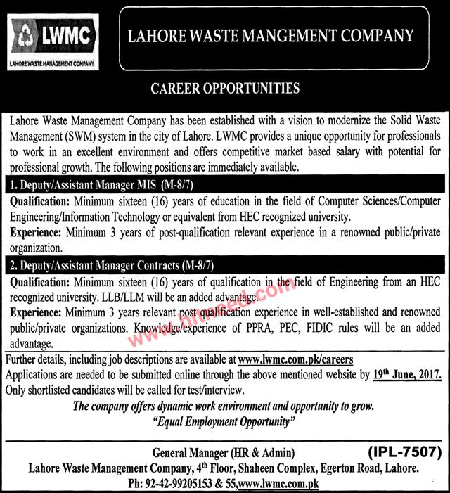 Lahore Waste Management Company, Deputy Manager MIS, Deputy Manager Contracts Jobs, Jun 2017 Last Date: 19-06-2017   #Assistant Manager #Contracts #Deputy Manager #Lahore Jobs #MIS #Waste Management Company Jobs