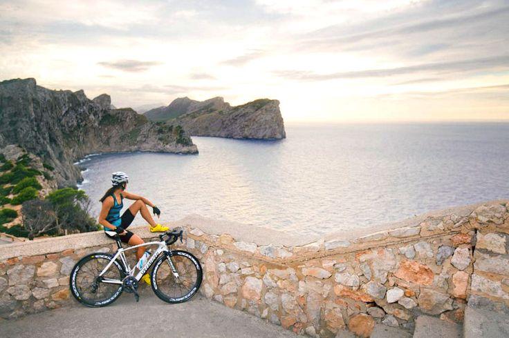 Reaching the top of Ermita de Betlem. Cycling in Mallorca