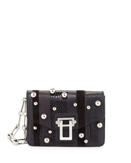 PROENZA SCHOULER Hava Exotic-Striped Clutch Bag, Black. #proenzaschouler #bags #shoulder bags #clutch #lining #suede #hand bags #
