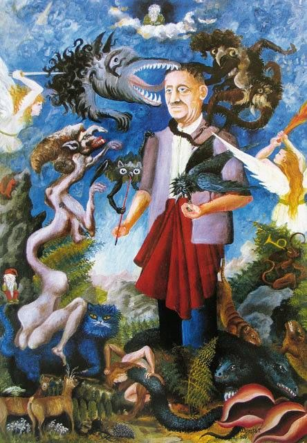 Teofil Ociepka believed that he had a spiritual link with his master who telepathically inspired his art. Hohmann persuaded Ociepka to start painting circa 1927. He saw his painting as God's mission, and so tried to portray absolutist themes, including the struggle between Good and Evil. His paintings depicting the imaginary fauna and flora of Saturn relate to the Rosicrucian ideology.