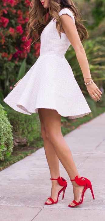 White Swing Dress & Red Ankle Strap Heels ♥